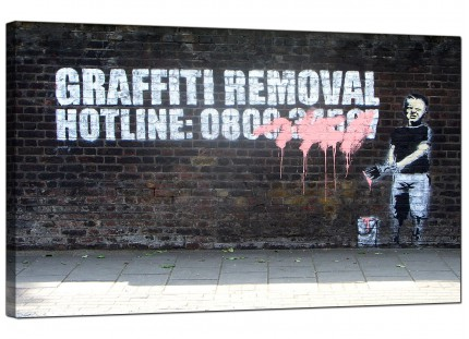 Large Banksy Graffiti Removal Hotline Modern Canvas Art - 73cm - 162m