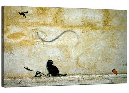 Large Banksy Cat and Mouse Modern Canvas Art - 73cm - 170m