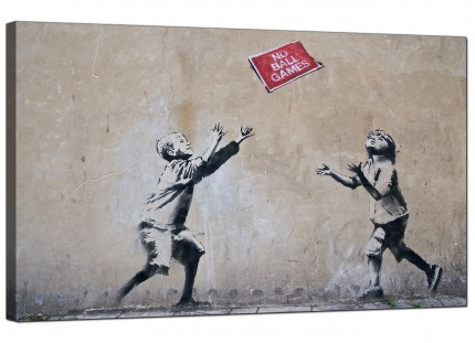 Large Banksy No Ball Games Modern Canvas Art - 73cm - 182m