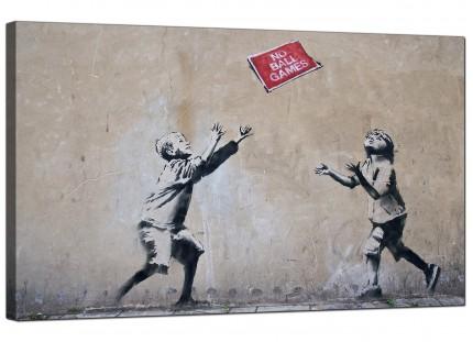 Large Banksy No Ball Games Modern Canvas Art - 73cm - 182m
