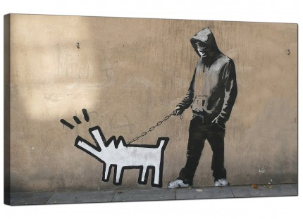 Large Banksy Keith Haring Dog Modern Canvas Art - 73cm - 181m