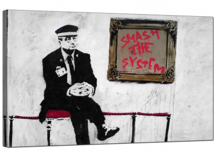 Large Banksy Smash the System Modern Canvas Art - 73cm - 178m