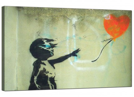 Large Banksy Girl With a Heart Balloon Orange Modern Canvas Art - 73cm - 158m