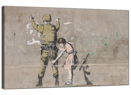 Large Banksy Frisk - Girl Searches a Soldier Modern Canvas Art - 73cm - 165m