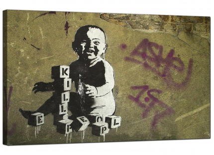 Large Banksy Kill People Baby Modern Canvas Art - 73cm - 156m