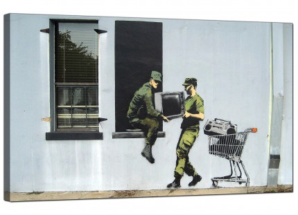 Large Banksy Looting Soldiers Modern Canvas Art - 73cm - 167m
