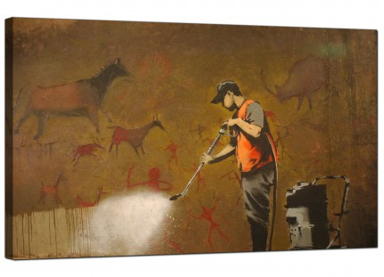 Large Banksy Cave Painting Removal Modern Canvas Art - 73cm - 168m