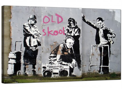 Large Banksy Old Skool Modern Canvas Art - 73cm - 173m