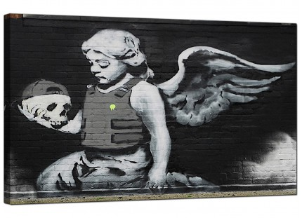 Large Banksy Ozones Angel Modern Canvas Art - 73cm - 155m