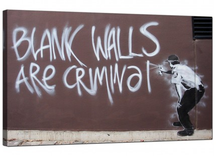 Large Banksy Blank Walls Are Criminal Modern Canvas Art - 73cm - 160m