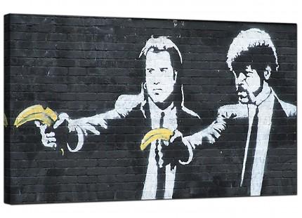 Large Banksy Pulp Fiction Modern Canvas Art - 73cm - 179m