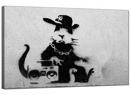 Large Banksy Rat With a Boombox Modern Canvas Art - 73cm - 163m