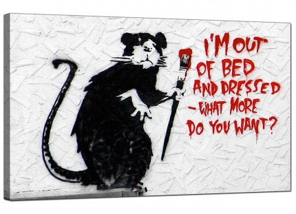 Large Banksy Im Out of Bed and Dressed Modern Canvas Art - 73cm - 176m