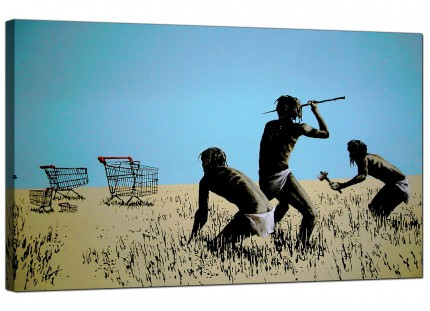 Large Banksy Hunting for Shopping Trolleys Modern Canvas Art - 73cm - 180m