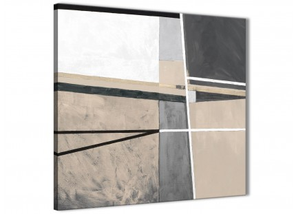 Beige Cream Grey Painting Kitchen Canvas Wall Art Accessories - Abstract 1s394s - 49cm Square Print