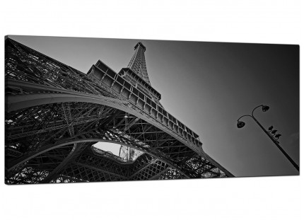 Large Black White Eiffel Tower Paris City Modern Canvas Art - 120cm - 1016