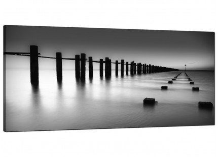 Large Black White Beach Scenery Landscape Modern Canvas Art - 120cm - 1085