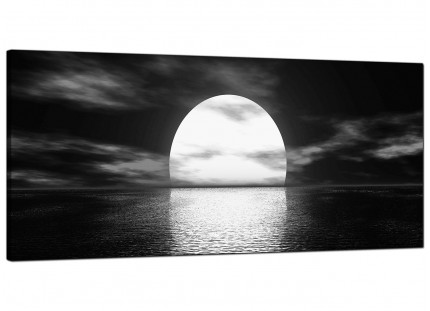 Large Black White Sea Sunset Ocean Landscape Modern Canvas Art - 120cm - 1003