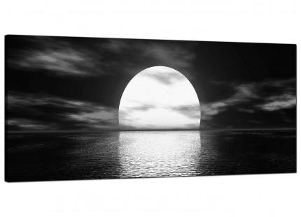 Large Black White Sea Sunset Ocean Landscape Modern Canvas Art - 120cm - 1003