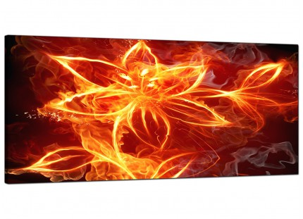 Large Flaming Fire Flower Orange Black Abstract Modern Canvas Art - 120cm - 1063
