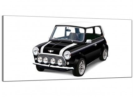 Large Black White Mini Cooper Classic Car Modern Canvas Art - 120cm - 1095