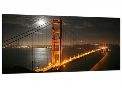 Large San Francisco Golden Gate Bridge Night Cityscape Canvas Art - 120cm - 1038