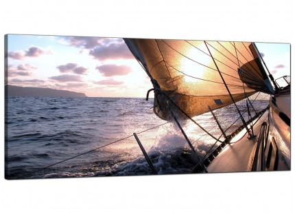 Large Sailing Yacht Boat Blue Ocean Sunset Landscape Canvas Art - 120cm - 1096