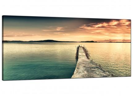 Large Sunset Jetty Pier Blue Lake View Landscape Canvas Art - 120cm - 1108