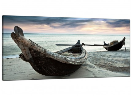 Large Thailand Fishing Boats Sunset Beach Modern Canvas Art - 120cm - 1107