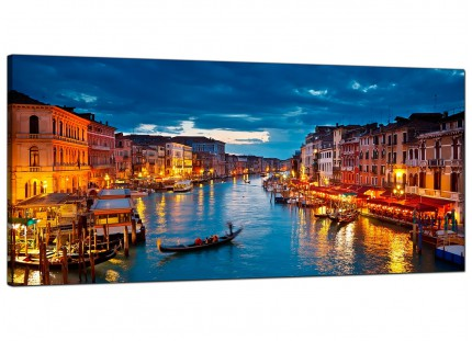Large Venice Italy Gondola Grand Canal Blue Cityscape Canvas Art - 120cm - 1068
