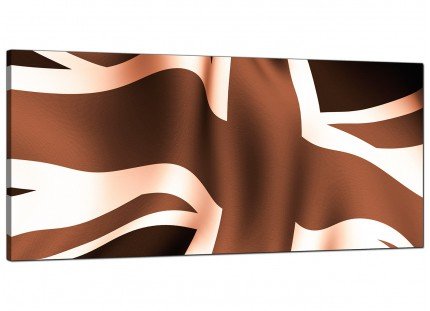 Large Brown and Cream Union Jack Flag Abstract Modern Canvas Art - 120cm - 1011