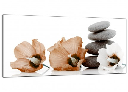 Large Brown White Flowers Zen Pebbles Stones Floral Canvas Prints - 120cm - 1073