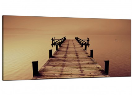 Large Brown Jetty Lake District Pier Landscape Modern Canvas Art - 120cm - 1045