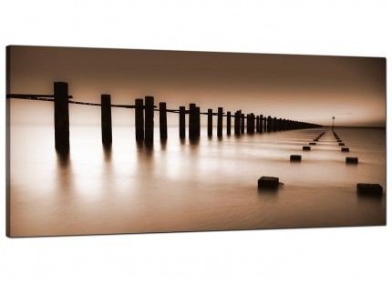 Large Brown Beige Coloured Beach Scene Landscape Canvas Art - 120cm - 1088
