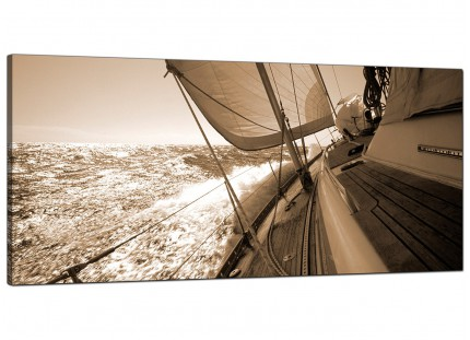 Large Sepia Brown Yacht Sailing Boat Ocean Landscape Canvas Art - 120cm - 1106