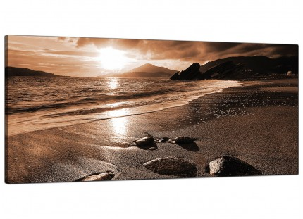 Large Brown Beige Sunset Beach Scene Landscape Modern Canvas Art - 120cm - 1076