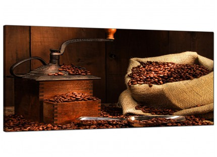 Large Brown Coffee Beans Grinder Kitchen Modern Canvas Art - 120cm - 1062