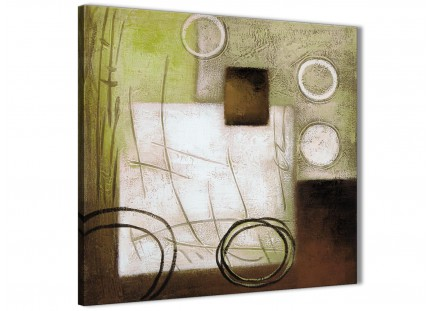 Brown Green Painting Bathroom Canvas Wall Art Accessories - Abstract 1s421s - 49cm Square Print