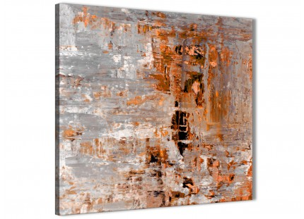Burnt Orange Grey Painting Bathroom Canvas Wall Art Accessories - Abstract 1s415s - 49cm Square Print