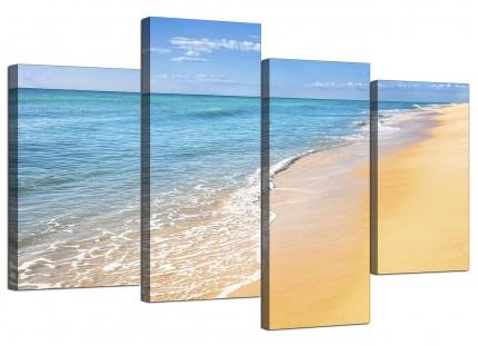 Panoramic Tropical Blue Seascape Beach Canvas - Multi 4 Set - 130cm - 4199