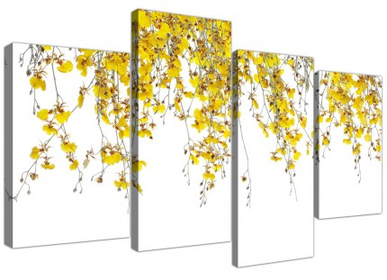 Modern Yellow White Orchids Flowers Floral Canvas - Multi 4 Part - 130cm - 4263