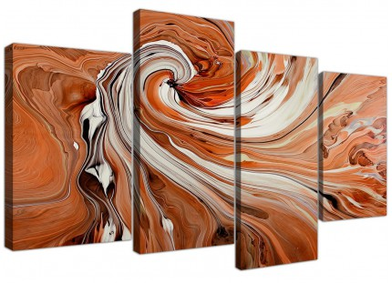 Modern Orange White Swirls Contemporary Abstract Canvas - 4 Part - 130cm - 4264