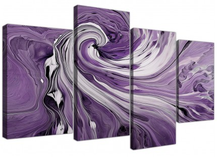 Purple Grey White Swirls Modern Abstract Canvas - Split 4 Panel - 130cm - 4270