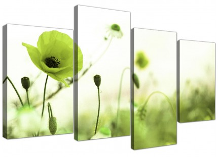 Lime Green White Poppy Field Flowers Floral Canvas - 4 Piece Set - 130cm - 4273