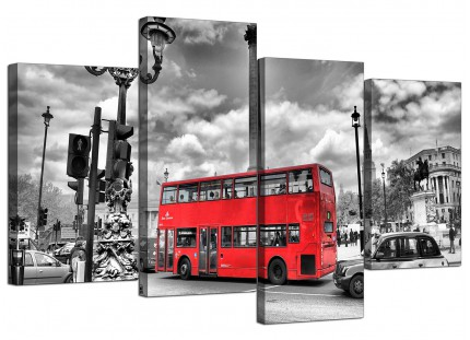 Red London Bus - Street Scene Cityscape Canvas - Multi Set of 4 - 130cm - 4210