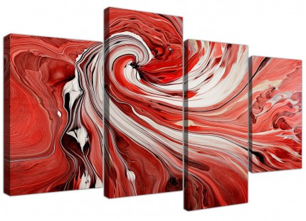 Red Black White Swirls Modern Abstract Canvas - Split 4 Piece - 130cm - 4265