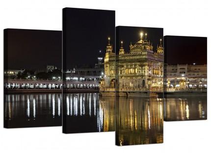 Sikh Golden Temple Amritsar Night Canvas - Split 4 Part - 130cm - 4195