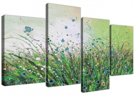 Green White Flowers Abstract Modern Floral Canvas - Set of 4 - 130cm - 4261