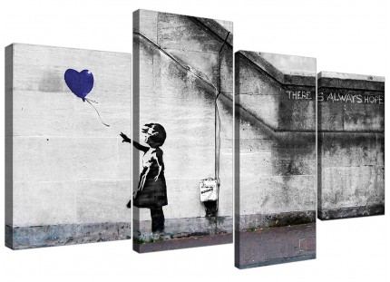 Banksy Balloon Girl Blue Heart Hope Canvas - Multi Set of 4 - 130cm - 4226