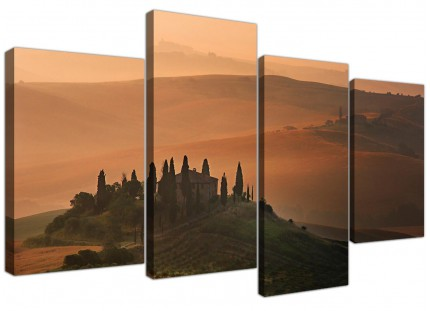 Canvas Wall Art of Tuscany Vineyard in Brown for your Bedroom